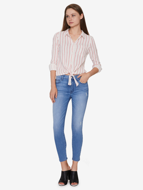 Hayley Tie Front Shirt Simply Stripe
