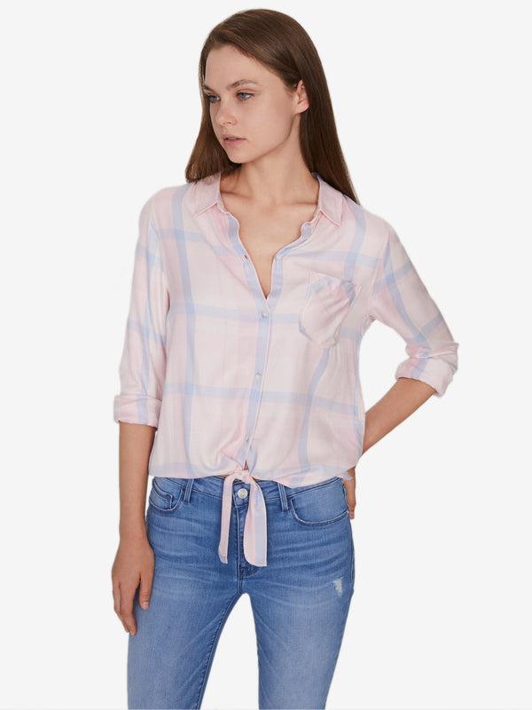 Hayley Tie Front Shirt Spring Fresh Plaid