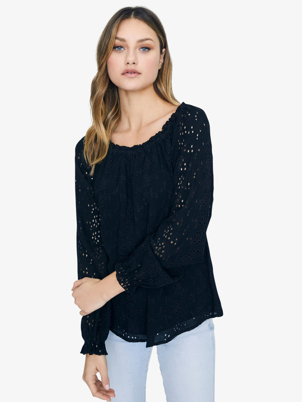 Blooming Eyelet Ballet Neck Blouse Black