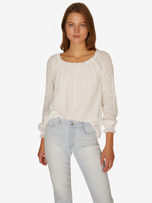 Blooming Eyelet Ballet Neck Blouse in Brite White
