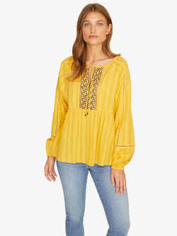 Summer Embroidered Top Desert Marigold