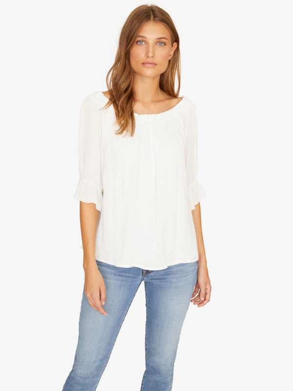 Soak Up The Sun Peasant Top Brite White