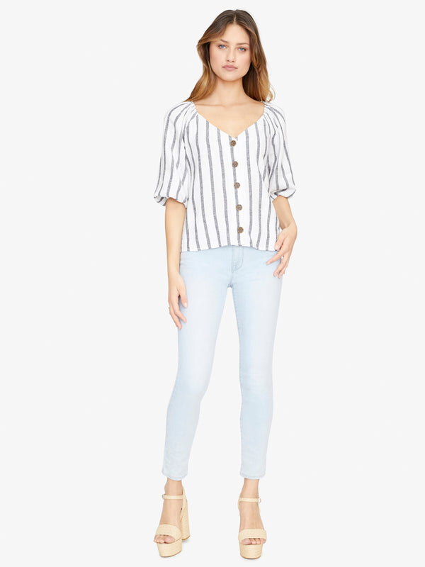 Modern Summer Button Front Top Still Life Stripe