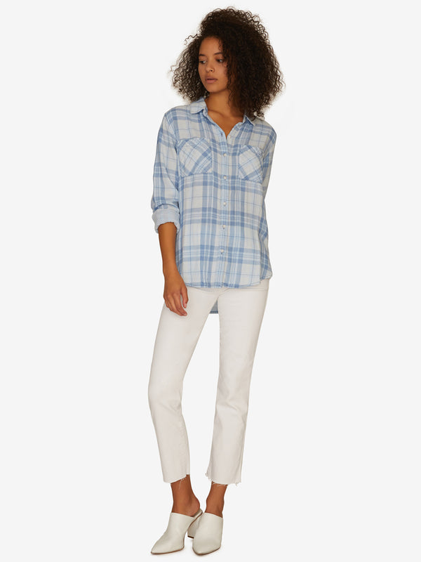 Favorite Boyfriend Shirt Bleach Out Wash Plaid