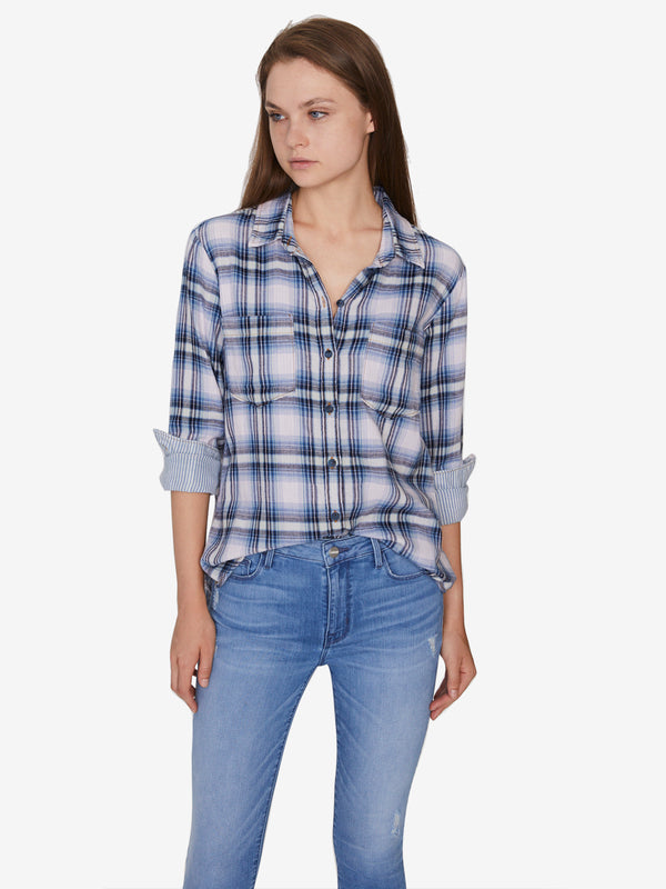 Favorite Boyfriend Shirt Indigo Love Plaid