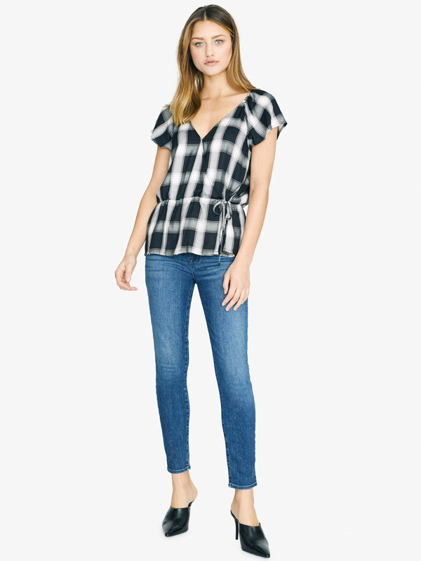 Sunstone Faux Wrap Top Be Real Plaid