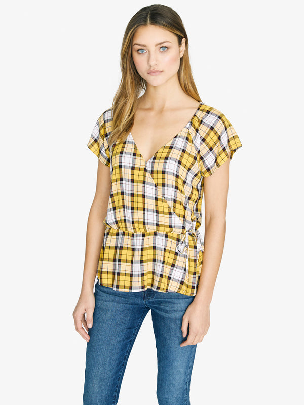 Sunstone Faux Wrap Top New Mod Plaid