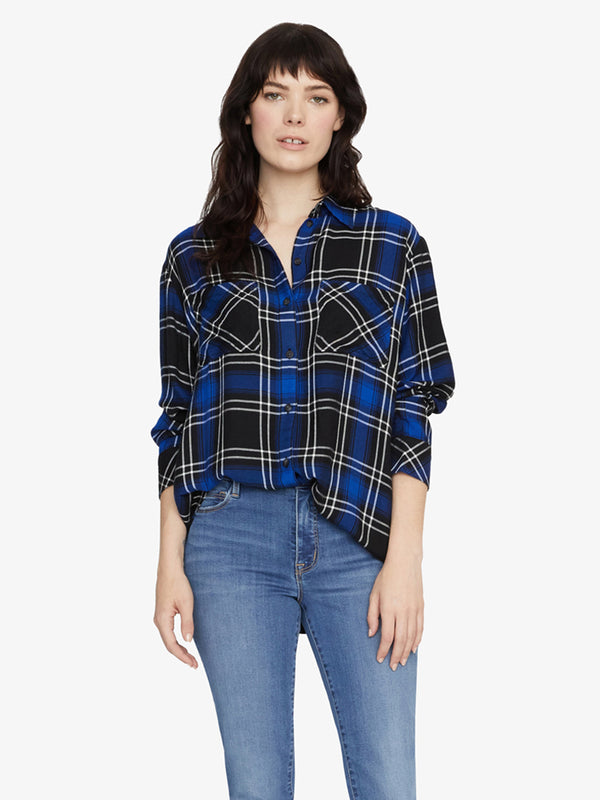 New Generation Boyfriend Shirt Web Blue Plaid