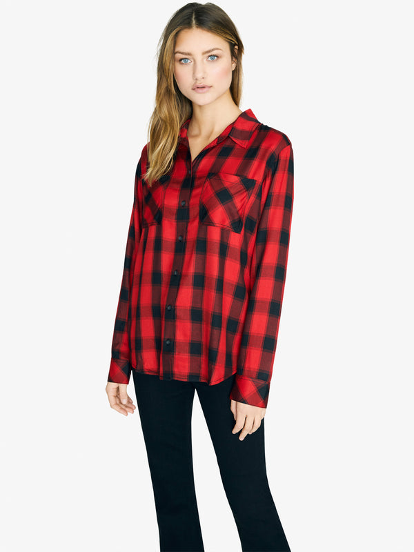 New Generation Boyfriend Shirt Fiery Plaid