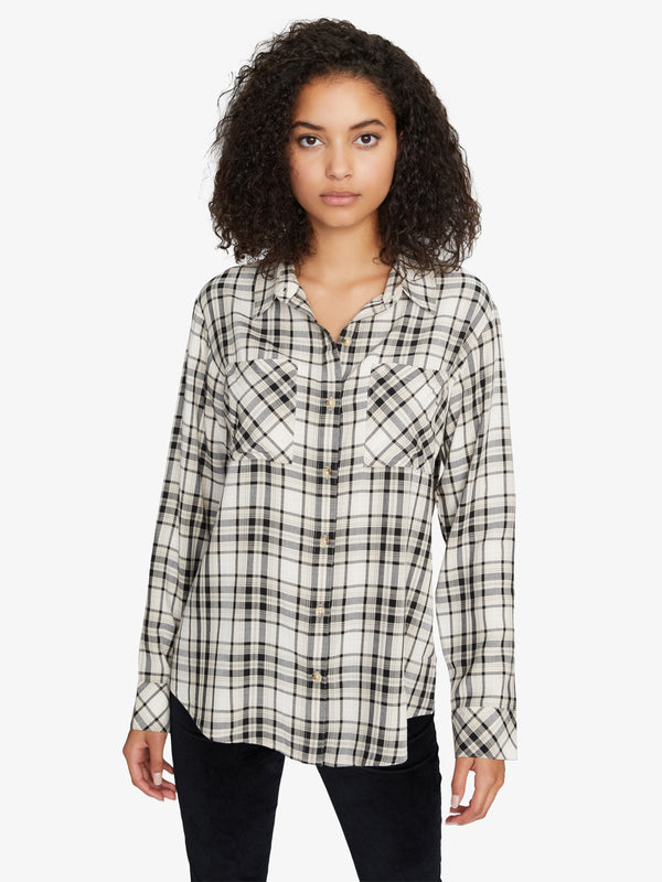 New Generation Boyfriend Shirt Modern Neutral Plaid