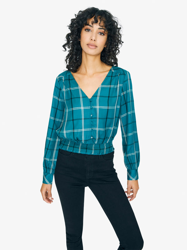 Fool For You Smocked Top Mineral Plaid