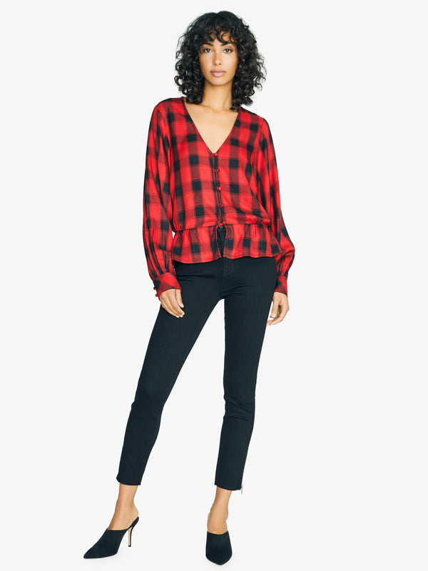 Jasper Button Front Blouse Fiery Plaid