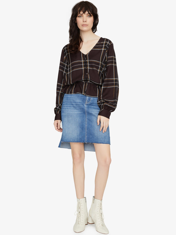 Jasper Button Front Blouse New Romantic Plaid