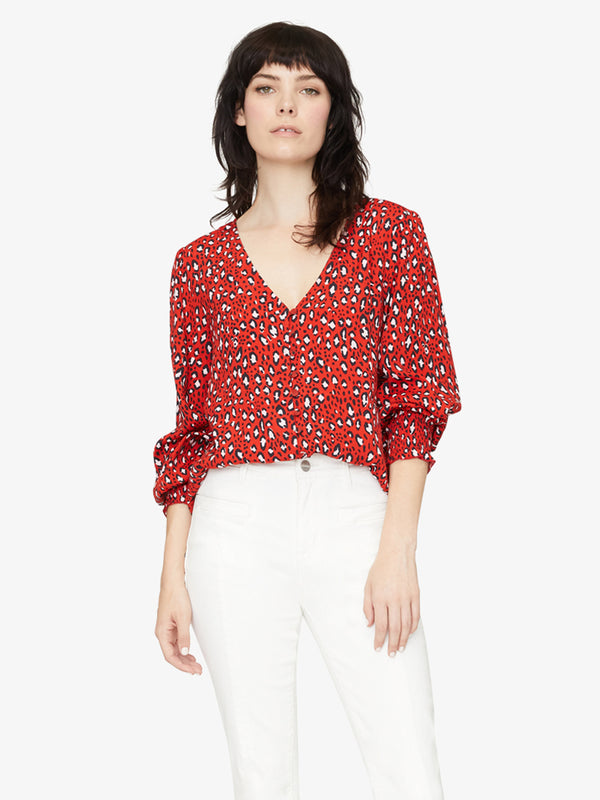 Noelle Smocked Sleeve Blouse Red Hot Leopard