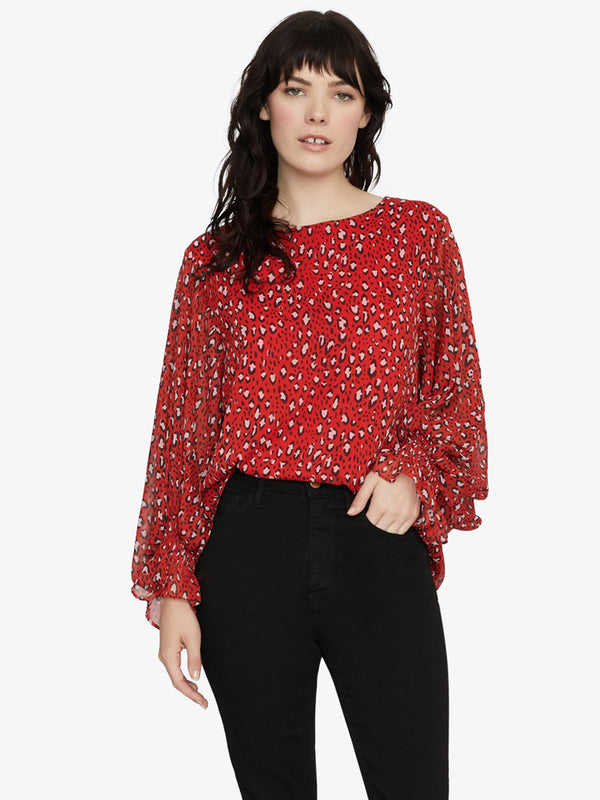 Rylee Volume Smocked Sleeve Blouse Red Hot Leopard