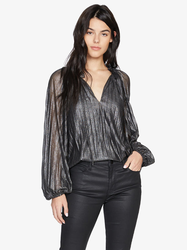 Live It Up Volume Blouse Black And Silver