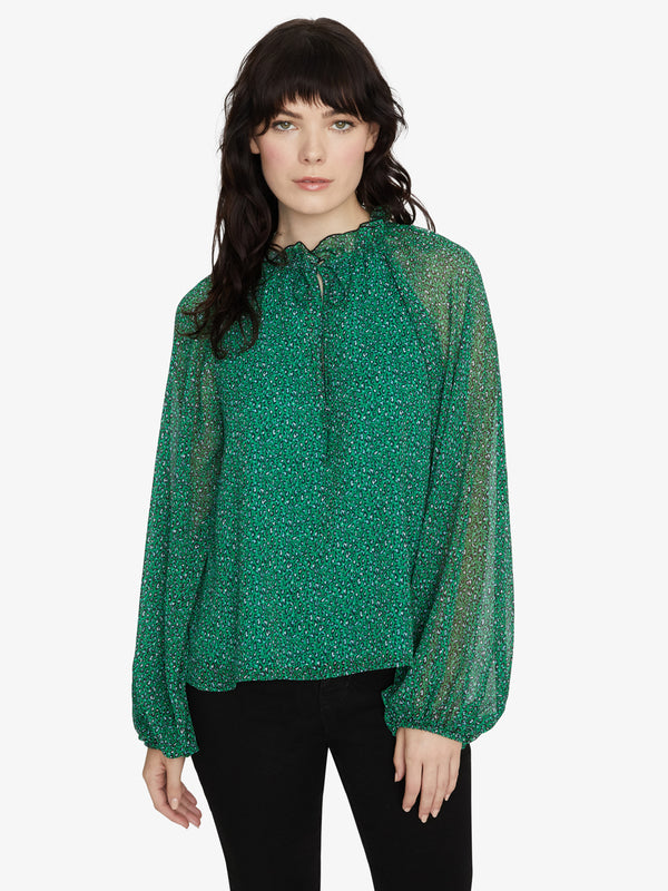 Live It Up Volume Blouse Mini Emerald Leo