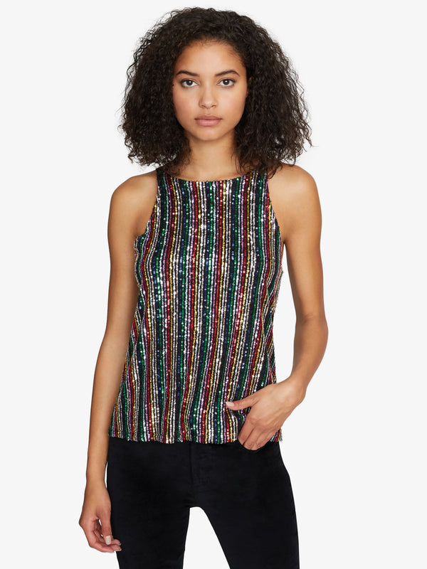 Cyber Sequin Tank Rainbow Sequin