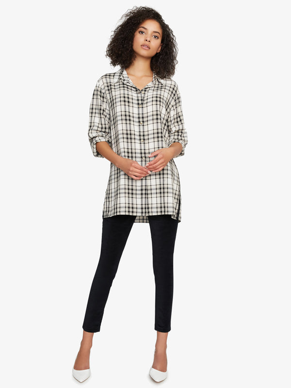 Stone Button Up Tunic Modern Neutral Plaid