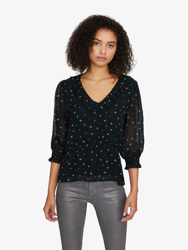Emelia Ruffle Blouse Perennial Night