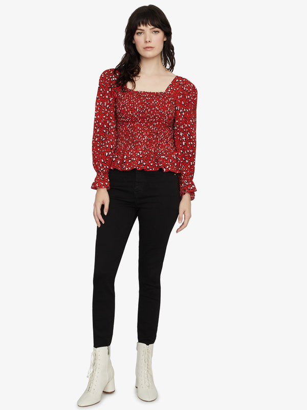 Electra Smocked Top Red Hot Leopard
