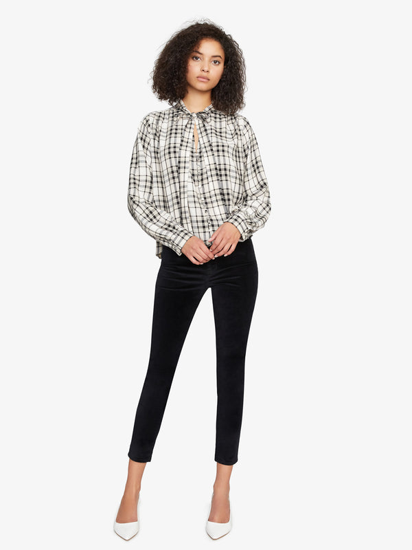 Kiera Tie Neck Blouse Modern Neutral Plaid
