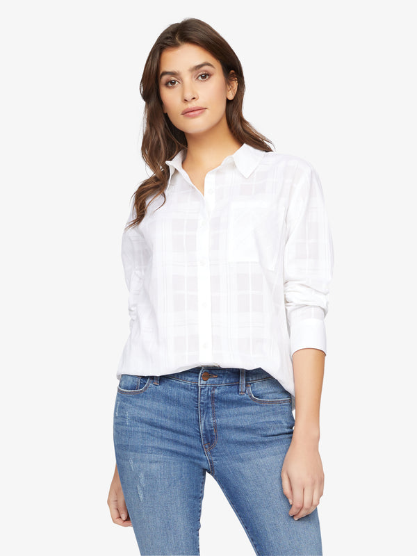 Keepers Boyfriend Shirt White Jasmine Plaid