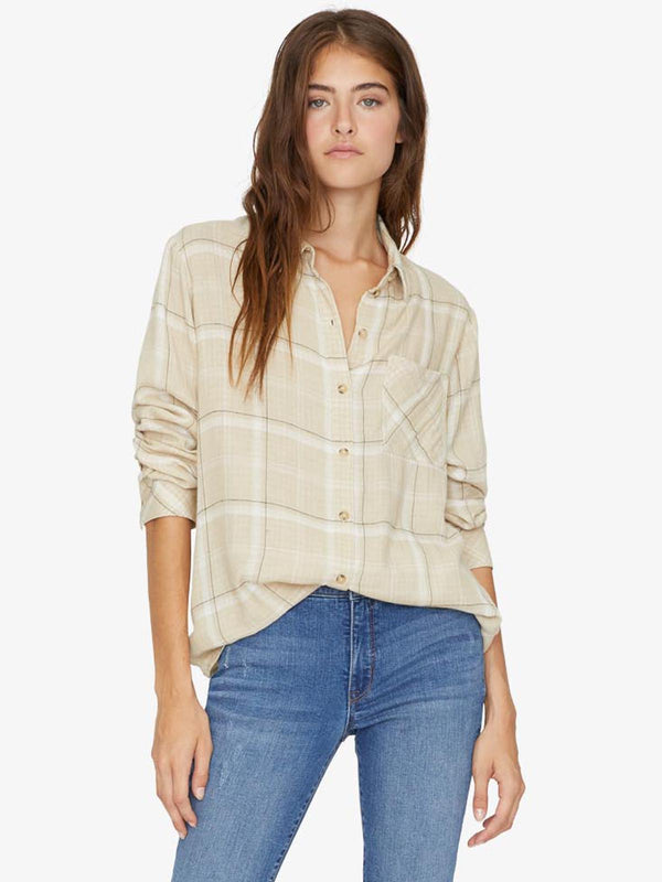 Keepers Boyfriend Shirt Modern Beige Double Cloth