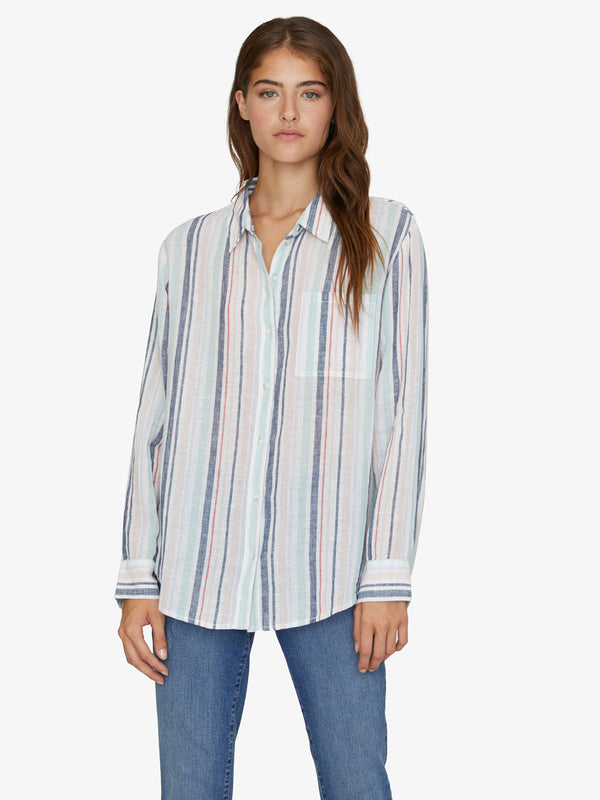 Keeper's Boyfriend Shirt Mini Garden Stripe
