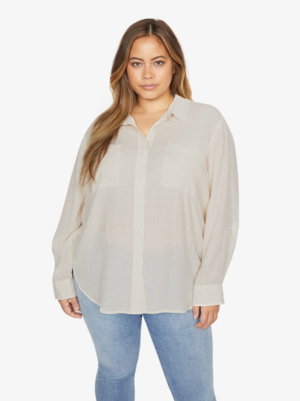 Waverly Boyfriend Shirt Large Dot To Dot Stone Inclusive Collection