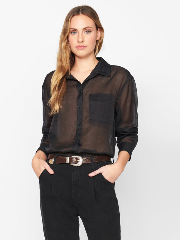 Sheer Bliss Button Down Black