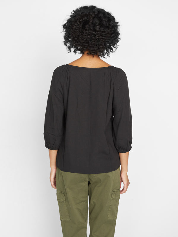 Modern Button Front Top Black