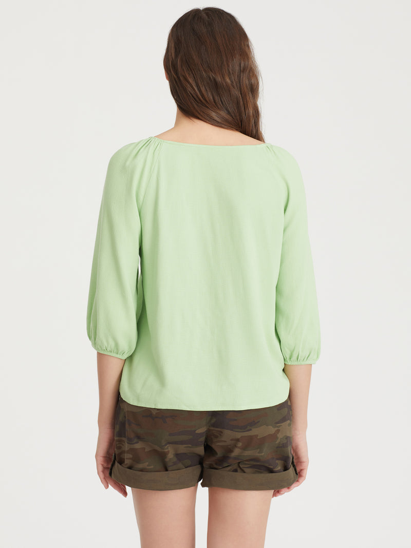 Modern Button Front Top Lt Pistachio