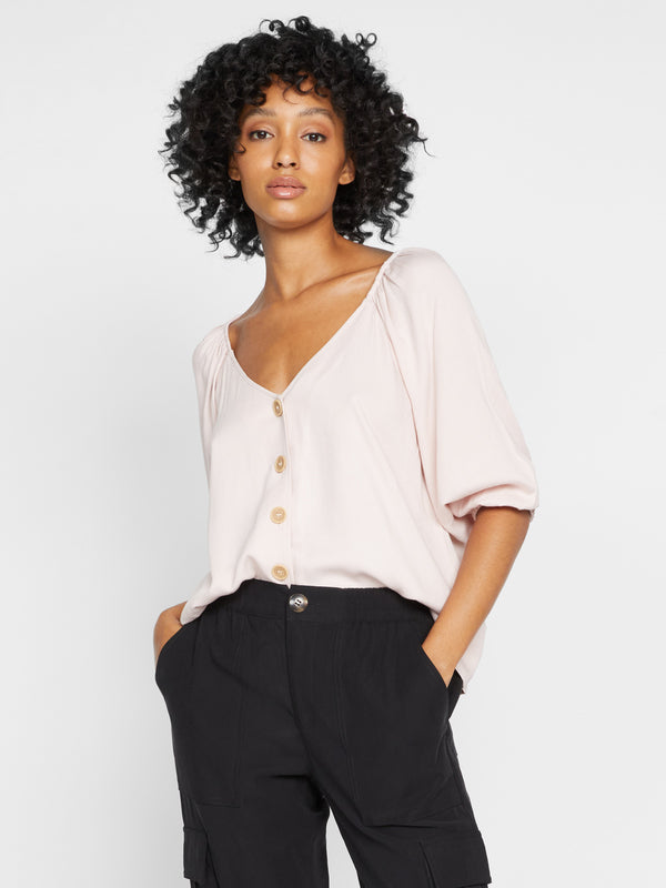 Modern Button Front Top Morning Pink