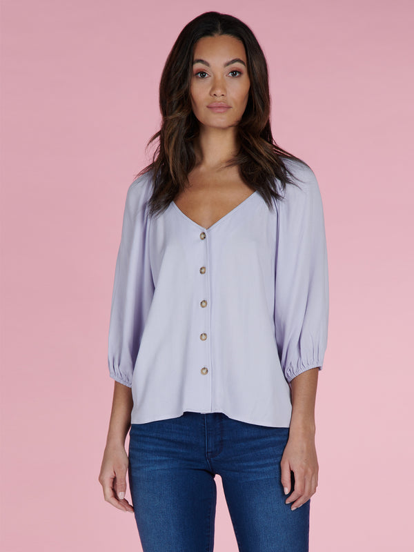 Modern Button Front Top Purple Heather