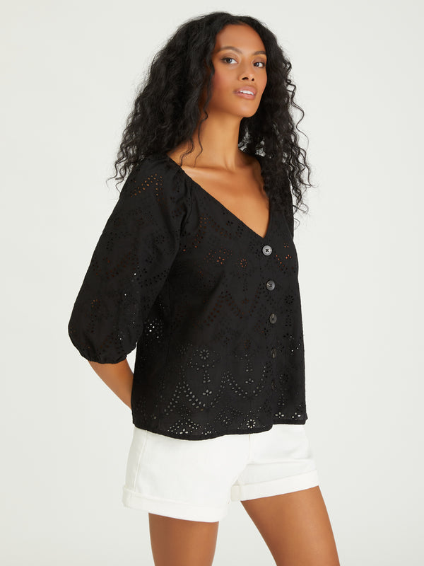 Modern Button Front Top Black - Woven Top