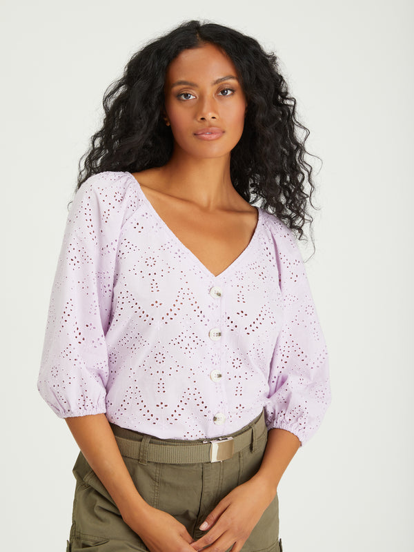 Modern Button Front Top Lavender Ice - Woven Top