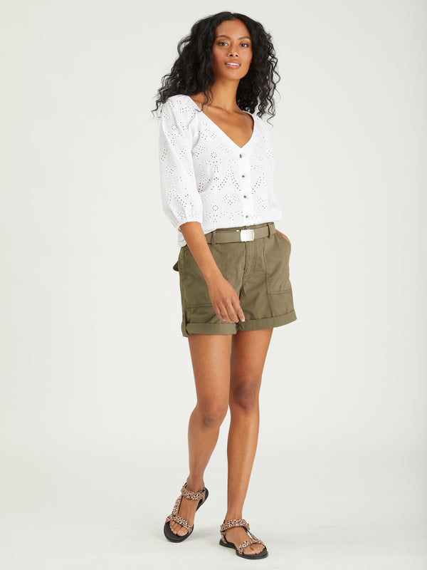 Modern Button Front Top White - WHITE / XXS - Woven Top