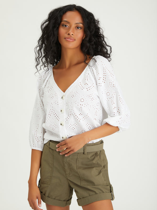Modern Button Front Top White
