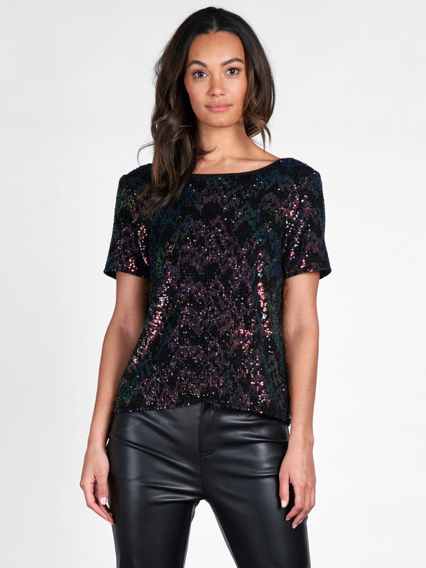 The Glimmer Top Black Multi