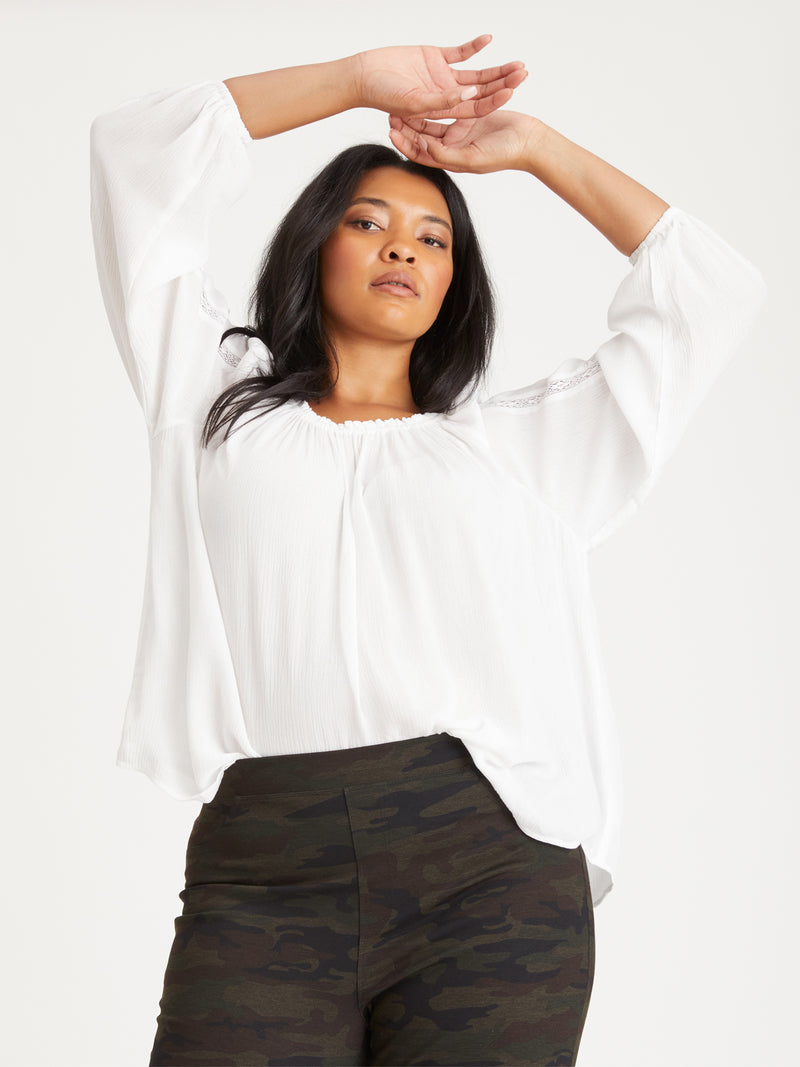 Say So Blouse White Inclusive Collection - Woven Top