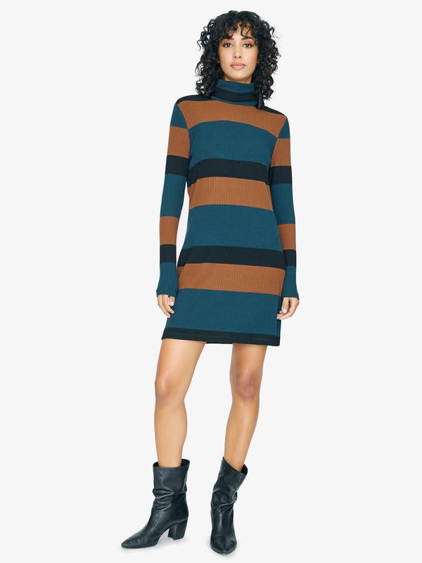 Larissa Turtleneck Dress Jade Stripe