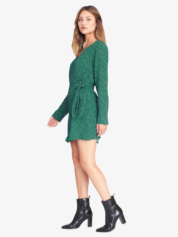 Stay The Night Wrap Dress Mini Emerald Leo