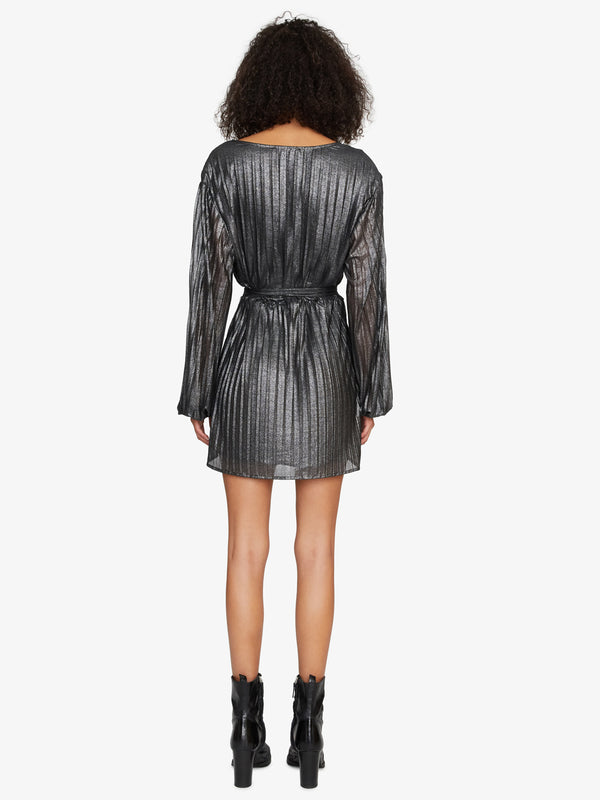 It's Party Time Faux Wrap Dress Black Shine