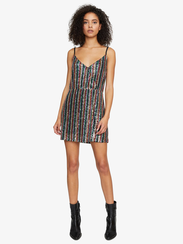 Rainbow Prism Wrap Mini Dress Rainbow Sequin