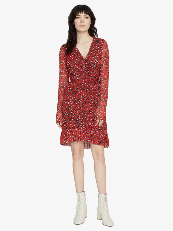 Emma Ruffle Dress Red Leopard