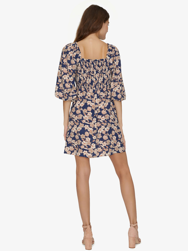 Marina Smocked Mini Dress Stencil Floral