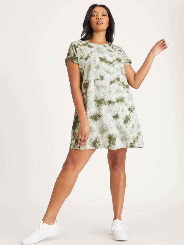 So Twisted T-Shirt Dress Organic Green / White Tie Dye