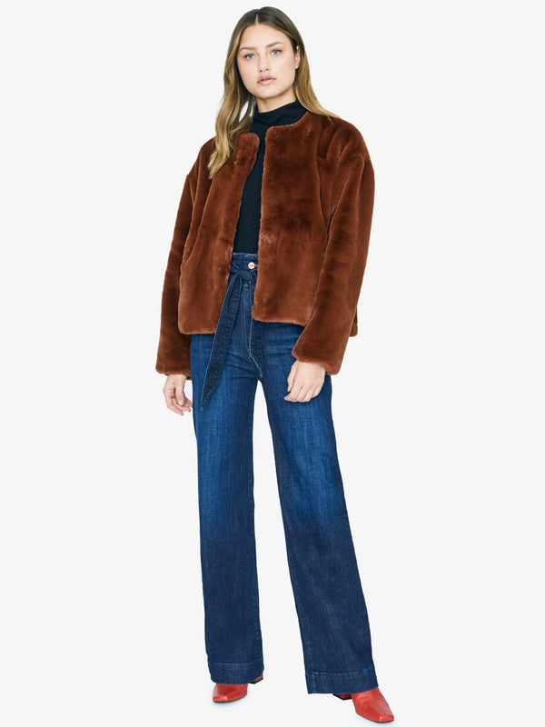 Starry Night Faux Fur Jacket Rust
