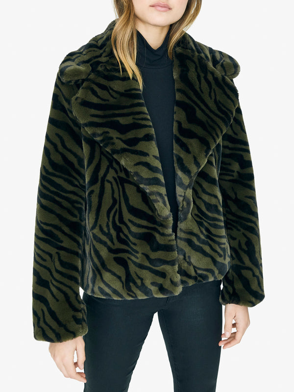 Wild Nights Faux Fur Jacket Green Zebra